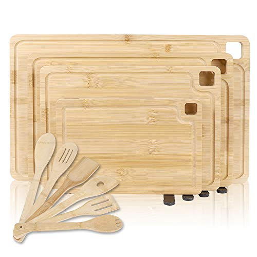 Bamboo Cutting Board-with Juice Groove and the Holder for Kitchen Cutting Board set of 4 with 6 Cooking Utensils for Meat Vegetables Bread fruit.