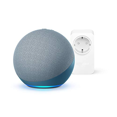 Echo (4.ª generación) | Sonido de alta calidad | Azul grisáceo + Amazon Smart Plug (enchufe inteligente WiFi), compatible con Alexa
