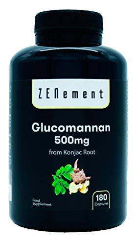Glucomannano 500mg per capsula = 3000mg al giorno, 180 Capsule | fibra vegetale della radice Konjac | 100% Naturale, Vegan, Senza Additivi | di Zenement