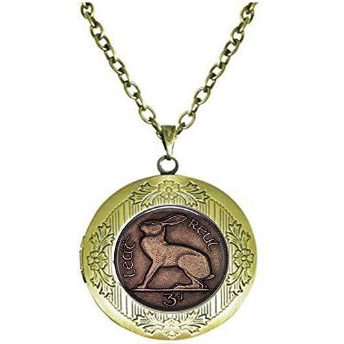 Irish Celtic Rabbit Or Hare 3 Pence Coin - Rabbit Keychain - 3 Pence Jewelry - Rabbit Jewellery, Gothic Woman Keychain Locket Necklace