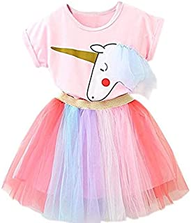 Cute girl's tutu skirt Girl Unicorn Clothing 2pcs Outfits with Pink Tops Colorful Lace Tutu Dress