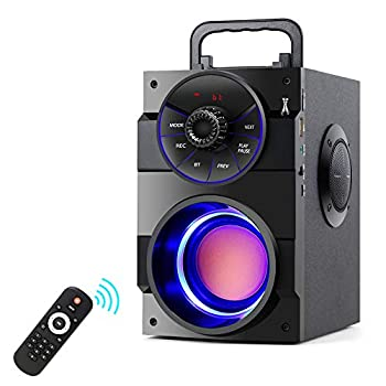 Bluetooth Speakers Portable Wireless Speaker with Subwoofer Heavy Bass 2 Loud Speaker LED Lights FM Radio Remote Control MP3 Player Powerful Speaker Suitable for Travel Indoor and Outdoor
