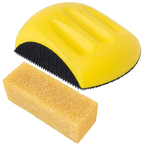 Sanding Block and Abrasive Cleaning Stick - Hook and Loop Sand Holder Tool for 5