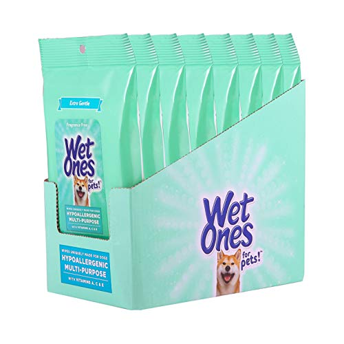 Wet Ones for Pets Hypoallergenic Multi-Purpose Dog Wipes with Vitamins A, C + E, Fragrance-Free Hypoallergenic Dog Wipes for All Dogs Wipes with Wet Lock Seal- 240ct Wipes Total