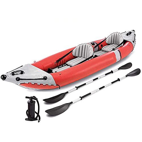 QSKL Kayak Inflable para 2 Personas, Juego de Canoa, Kayak de mar, balsa, Deportes acuáticos, Bote, Kayak para Adultos, Bote de Pesca Inflable, Paleta con Bomba de Aire