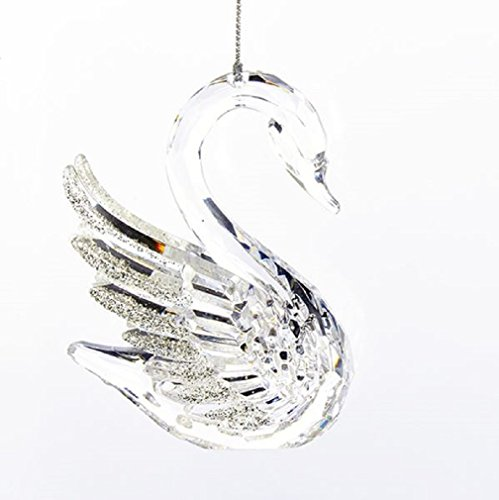 Kurt Adler Acrylic Clear SWAN W/ITH Silver Glittered Wings Ornament