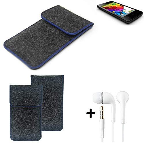 K-S-Trade® Filz Schutz Hülle Für Mobistel Cynus E4 Schutzhülle Filztasche Pouch Tasche Handyhülle Filzhülle Dunkelgrau, Blauer Rand Rand + Kopfhörer