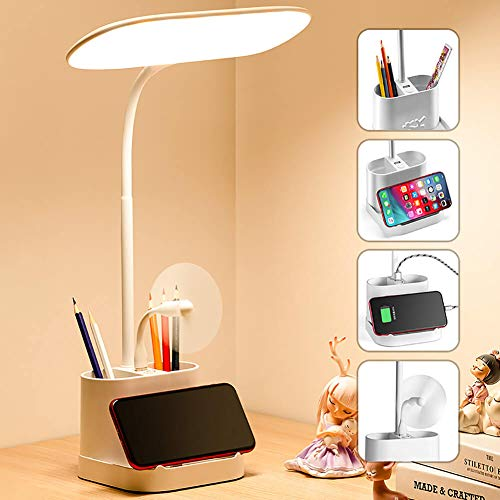 White LED Desk Lamp for Home Office with USB Charging Port Pen Holder Gooseneck Adjustable Reading Light 3 Color Modes Stepless Dimming Touch Table...
