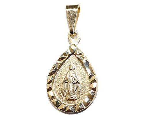 Medalla de gota Virgen Milagrosa – Medalla milagrosa chapada en oro de 18 quilates con cadena de 45,72 cm