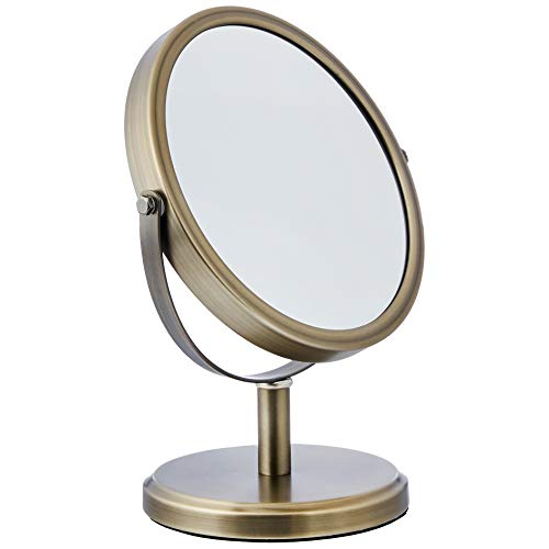 Amazon Basics – Espejo de doble cara para lavabo con mueble de baño, estilo moderno, Peltre