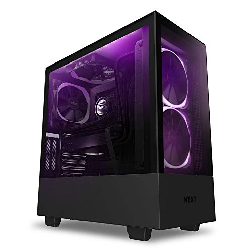 NZXT H510 Elite - CA-H510E-B1 - Premium Mid-Tower ATX Case PC Gaming Case - Dual-Tempered Glass Panel - Front I/O USB Type-C Port - Vertical GPU Mount - Integrated RGB Lighting - Black