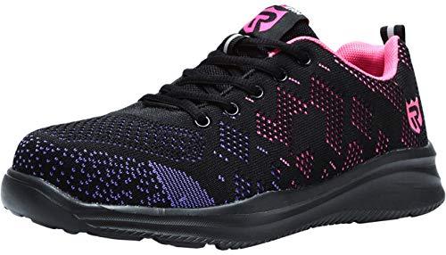 LARNMERN Zapatos de Seguridad para Mujer con Puntera de Acero Zapatillas, Ligeros y Transpirables Zapatos de Entrenamiento prevención de pinchazos (40 EU, púrpura)