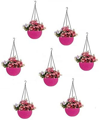 Round Gamla Pot Flower Hanging Round Rattan Woven Plastic Flower Hanging Basket Beautiful Pot for Garden Balcony (7 Pcs, Pink)
