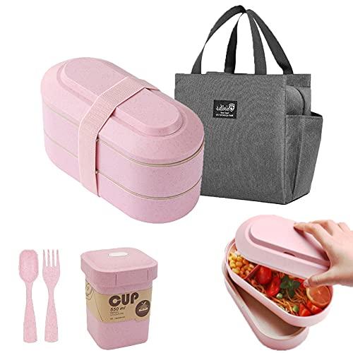 iEago RC Bento Lunch Box Porta Pranzo Contenitore per Alimenti Impilabile Con Borsa Termica Bambini Utensili Tazza Da Zuppa Per Forno A Microonde Lavabile In Lavastoviglie per Bambini (rosa)