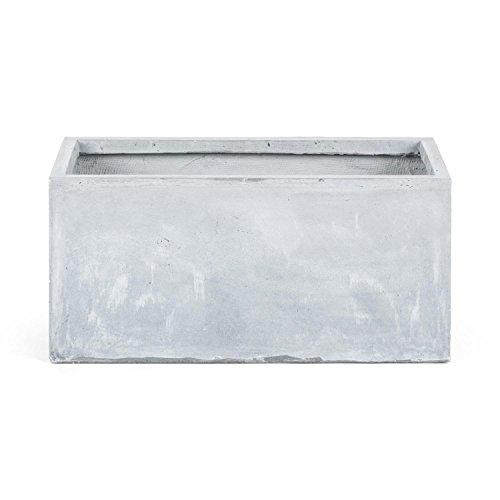 blumfeldt Solidflor - SF1, Fioriera, Vaso per Piante, 79,5 x 38 x 38 cm (LxAxP), Fiberon, Ottica Cemento, Resistente al Gelo, Peso Ridotto, Libera Collocazione, Grigio Chiaro