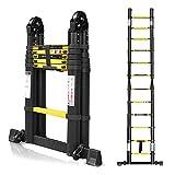Hengda 3.8M Escalera Telescópica Multiusos de Aluminio Portátil 1.9+1.9m Escalera Multifunción, Extensible, 12 Peldaños Soporta Hasta 330 lb / 150 kg para Trabajo en Interiores y Exteriores - Negro
