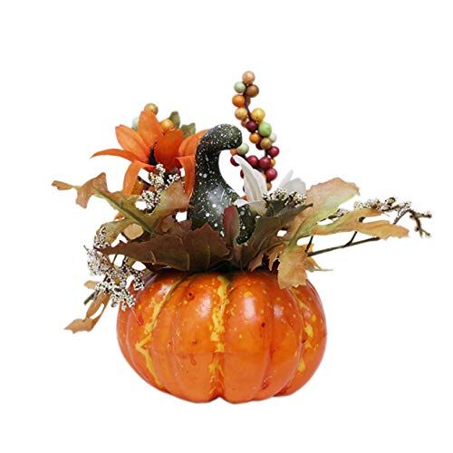 Artificial Pumpkins for Decoration, Mini Fake Pumpkins with Lifelike Maple Leaves Faux Pumpkins Artificial Vegetables for Fall Garland Halloween Thanksgiving Decorations (C, 1 PC)
