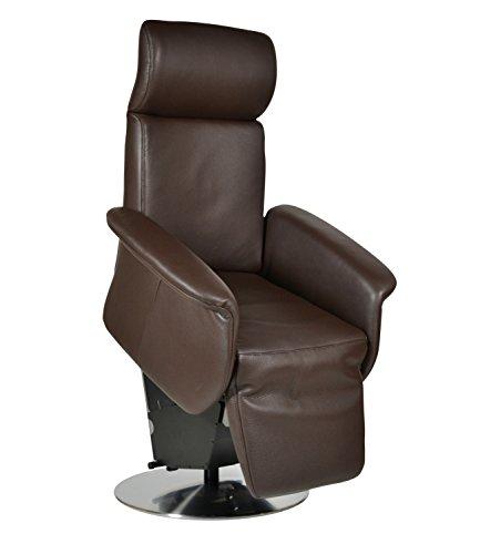 DEVITA elektrischer Aufstehsessel Fernsehsessel Relaxsessel Pflegesessel mit Aufstehhilfe Monza Lift bis 120 kg (elektr.verstellbar Akku, Echtleder Dunkelbraun)