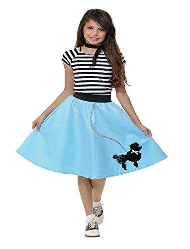 Charades Poodle Skirt with Elastic Waistband Girl's Costume, Powder Blue, Medium