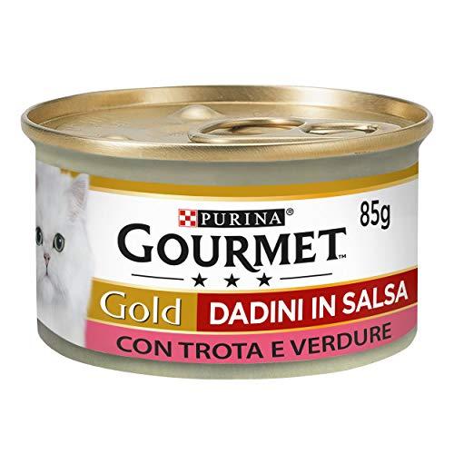 Purina Gourmet Gold Umido Gatto Dadini in Salsa con Trota e Verdure, 24 Lattine da 85 g Ciascuna, Confezione da 24 x 85 g