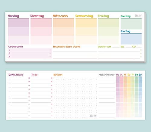 Wochenplaner Block ohne festes Datum [Rainbow] 50 Blatt | Tischkalender quer inkl. Terminplaner, Wochenziele, Habit-Tracker, To-Do-Liste, Einkaufsliste, Notizen | klimaneutral & nachhaltig