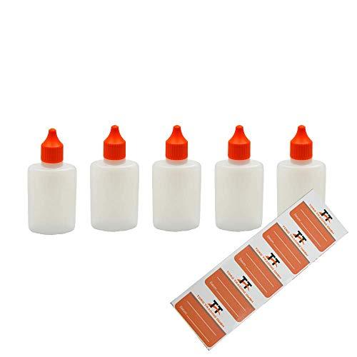 Ovale Liquid-Flaschen 5 x 50ml - Flachmann, Kunststoffflaschen aus weichem HDPE inkl. 5 Etiketten (weiß/transparent) - Liquid Flasche - Tropfflaschen,Dosierflaschen,Dropper Flaschen,Quetschflaschen
