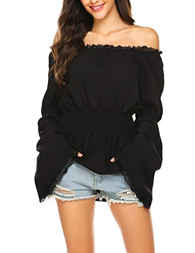 ELESOL Women's Plue Size Stretch Off Shoulder Blouse Black Casual Boho Shirt Tops XXL