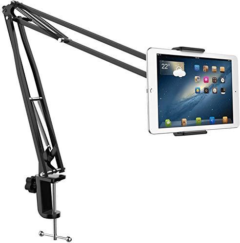 Lasuki Supporto per Tablet Regolabile a 360° con Braccio in Acciaio e Morsetto per Tablet da 4 a 10,6 cm per upporto per iPad/iPhone/Nintendo Switch/Samsung Tab/Huawei