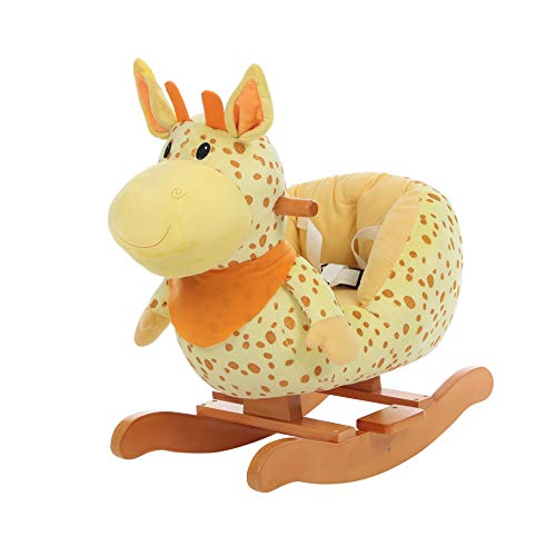 labebe - Baby Rocking Horse, Plush Baby Rocker, Ride on Toy for 1-3 Year Old, Kid Wooden Rocking Horse, Nursery/Toddler/Infant Rocking Animal, First Rocking Horse for Baby Girl/Boy - Giraffe Rocker