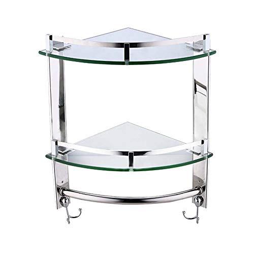 IDWOI Duschregal Eckablage Bad Glas Eckzarge 1/2/3 Schicht Lagerregal Mit Hakenglasboden Rostfreier Stahl Duschorganisator Badezimmerzubehör (Size : 39cm)