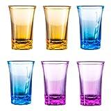 Paquete de 6 vasos de chupito de fiesta, juego de vasos de chupito de base pesada de 1,2 oz, vasos de chupito de whisky, mini vasos de acrílico para licor, vodka de tequila, cóctel (Multicolor)