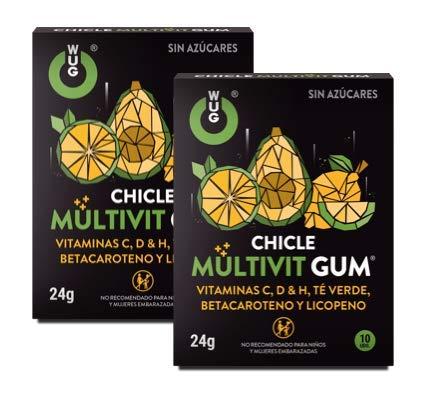 WUG CHICLE MULTIVIT GUM - Vitaminas C, D y H, Betacaroteno, Licopeno y Té Verde, Sabor tropical, Pack 2 cajas (2 x 10 uds)