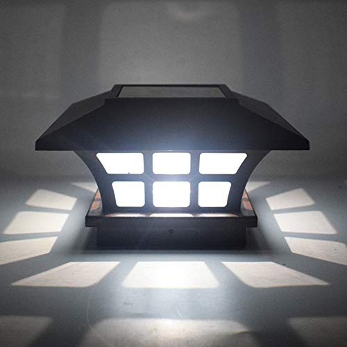 Prosperveil Solar-Pfosten-Lichter für den Außenbereich, LED, wasserdicht, Deck, Zaun-Lichter, quadratisch, Säulenlampe, Terrassenbeleuchtung, Kaltweiß