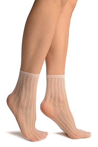 LissKiss White Keyholes Stripes Lace Socks Ankle High - Wei? Socken, Einheitsgroesse (37-42)
