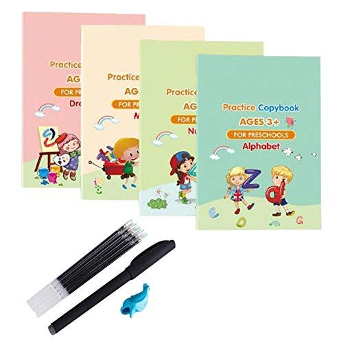 Magic Practice Copybook für Vorschulkinder, Mathematik/Zeichnen/Zahlen/Alphabet-Tracing Book für Kinder im Alter von 3–5 Jahren, Magic Practice Copybook Set mit Stift