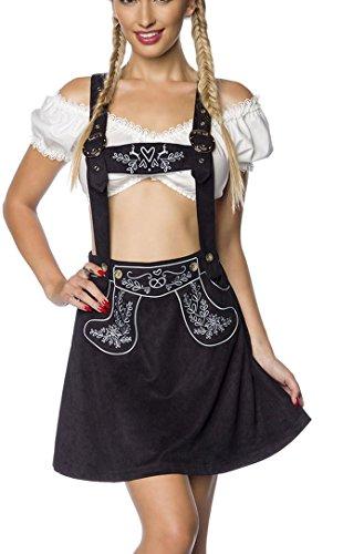 Schwarzer Damen Trachtenrock mit Hosenträgern und Stickereien Velourlsederoptik Bayrischer ausgestellt Latzrock Lederoptik abnehmbare Träger Oktoberfest S