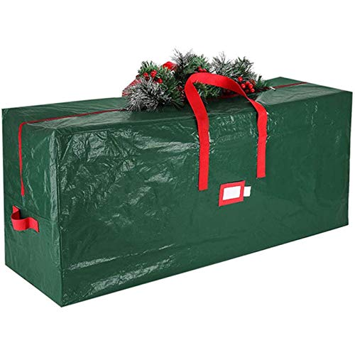FASFSAF Christmas Tree Storage Bag, Large Zippered Xmas Tree Bag with 2 Reinforced Handles, Artificial Christmas Tree Organizer, for Christmas Tree Storage,Green,122cm