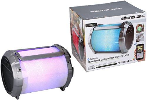 Soundlogic Tragbarer XL-Lautsprecher mit LED-Beleuchtung und eingebautem Subwoofer