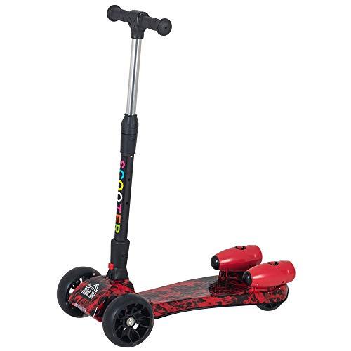 HOMCOM Patinete para Niños Scooter Plegable con Altura Ajustable de 4 Niveles y Música Luces y Nebulizador de Agua +3 Años 62x27x63-81 cm Rojo