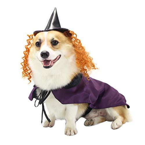 Zeraty Disfraz de Halloween para Mascotas Traje de Bruja Ropa de Fiesta para Perros Cosplay navideño para Perros y Gatos pequeños a Grandes