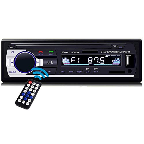 POFET In-Dash Ricevitore Audio Stereo per Auto BT con Ingresso Aux Adattatore Radio FM Supporto per Lettore MP3 per Auto Aux in TF Card Ricevitore AUX per Auto USB + Telecomando Wireless JSD520