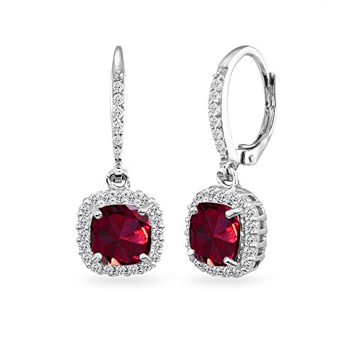 Sterling Silver Synthetic Ruby Cushion-Cut Dangle Halo Leverback Earrings with White Topaz Accents