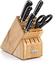 WÜSTHOF Classic Seven Piece Knife Block Set | 7-Piece German Knife Set | Precision Forged High Carbon Stainless Steel Kitchen Knife Set with 15 Slot Wood Block – Model 7417