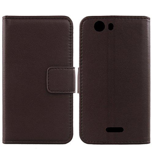 Gukas Design Echt Leder Tasche Für Wiko Ridge Fab 4G Hülle Handy Flip Brieftasche mit Kartenfächer Schutz Protektiv Genuine Premium Hülle Cover Etui Skin Shell (Dark Braun)