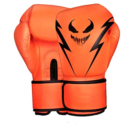 Boxhandschuhe Monster Muster Boxhandschuhe Boxen MMA Boxsack Trainings Mitts 4 Farben Optional für Boxsack Pads Sparring (Color : Orange, Size : 10oz)