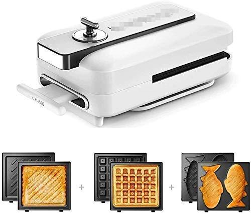 GJJSZ Sandwichera,220V-600W,máquina de Desayuno multifunción,waflera y panificadora,3 Platos antiadherentes e Intercambiables,Temporizador de 15 Minutos,fácil de limpiar-Blanco-D2020 xiao1230