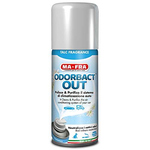Ma-Fra, Odorbact Out Talc Fragrance, Spray Purificante per Climatizzatori Auto, Neutralizza i Cattivi Odori e Rilascia una Piacevole Fragranza al Talco, Formato 150ml