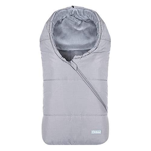 Orzbow Saco Carrito Bebe invierno saco silla paseo Universal saco capazo bebe - Térmico, Impermeable a Prueba de Viento Hasta -10° (Gris claro,0-12 meses)