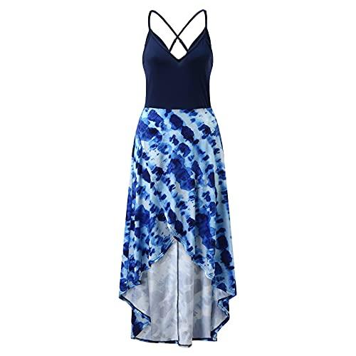 OUDE Damen ärmelloses Blumen-Sling-Kleid Damenmode Lässig Asymmetrisches Parkett-Blumen-Langkleid