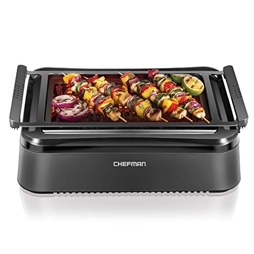 Chefman Electric Smokeless Indoor Grill with Infrared Instant Heating Technology, Adjustable...